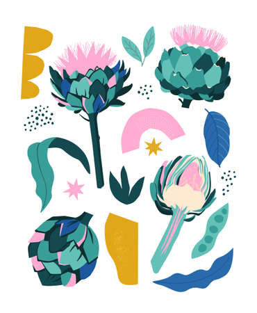 Collage contemporary stylized artichoke and abstract shapes with the text. Banner, poster, wrapping paper, sticker, print, modern textile design. Vector illustration