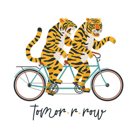 The tigers ride a tandem bike. Vector illustration on a white background. Children card, sticker, party invitation, print for teenager clothes Vectores
