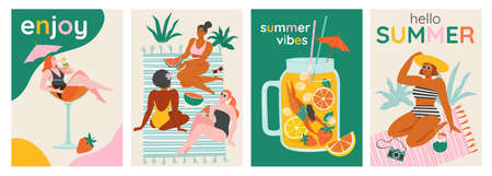Top view of a summer background. Summer swimming, swimming, diving in a huge glass of cocktail or smoothie. Women relaxing at the beach. Vector cards, poster design illustration. Vectores