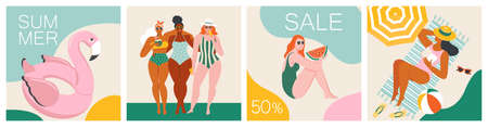Vector abstract summer time illustration card with pin up women chilling on the beach. Summer party. Hello summer posters in vector. Cute Retro templates set