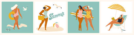 Vector abstract summer time illustration card with pin up girls relaxing on the beach in ocean waves with calligraphy. Summer party. Hello summer cards in vector. Cute Retro posters set Vectores