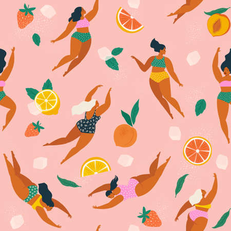 Girls in swimsuits diving and swimming in refreshing fruit lemonade with ice cubes seamless pattern.