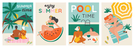 Set of a summer background. Summer swimming, swimming, diving in a huge watermelon. Couple relaxing at the beach . Vector cards, poster design illustration.