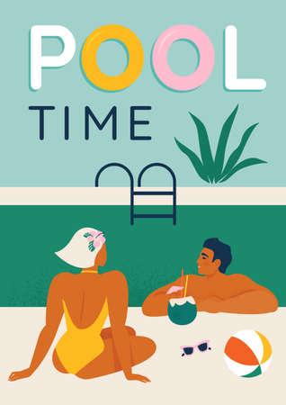 Young couple relaxing by the pool seated, swimming in the pool and umbrella vector illustration poster design.