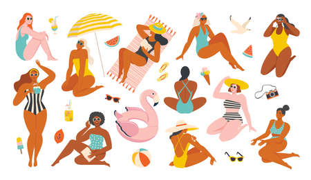 Summer collection. Vector illustration of resting women and objects and fruits issociated with summer holidays and vacation by the sea. Creator scene in a flat style. Vectores