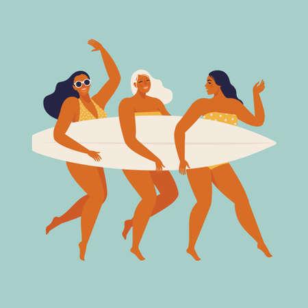 Cute funny girls in swimwear surfing in sea or ocean. Happy surfers in beachwear with surfboards isolated on blue background