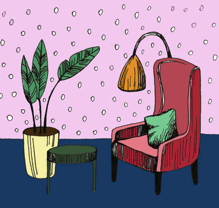 Hand drawn home interior sketch with armchairs, flower in a pot and lamp