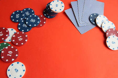 poker cards, pocker chips, money pocker dice Banque d'images