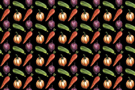 Watercolor vegetable seamless pattern on white background. Carrot, cucumber, tomato, onion, pumpkin, chilie bell peppers