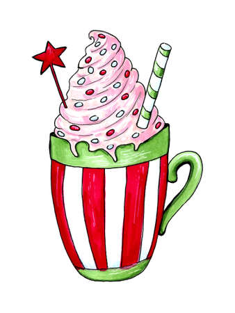 Watercolor illustration of a cup of hot cocoa. Christmas cozy drink 写真素材 - 129776177