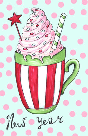 Watercolor illustration of a cup of hot cocoa. Christmas cozy drink 写真素材 - 129776347