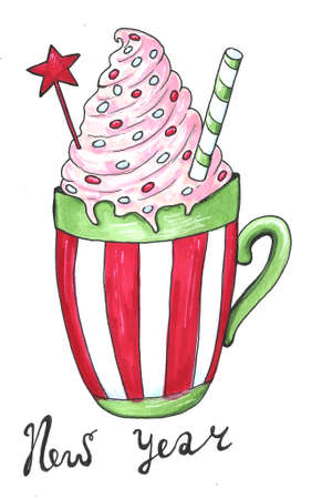 Watercolor illustration of a cup of hot cocoa. Christmas cozy drink