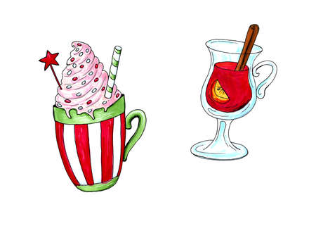 Watercolor illustration of a cup of hot cocoa. Christmas cozy drink Фото со стока - 129776355