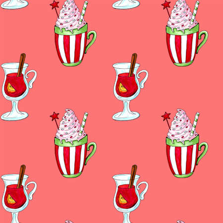 Watercolor illustration of a cup of hot cocoa. Christmas cozy drink 写真素材 - 129776357