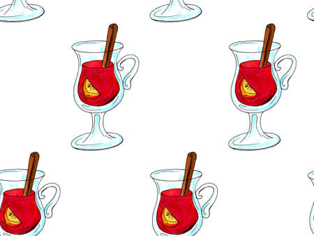 Watercolor illustration of a cup of hot cocoa. Christmas cozy drink Фото со стока - 129776527