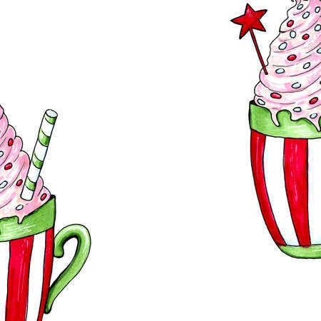 Watercolor illustration of a cup of hot cocoa. Christmas cozy drink 写真素材 - 129776524