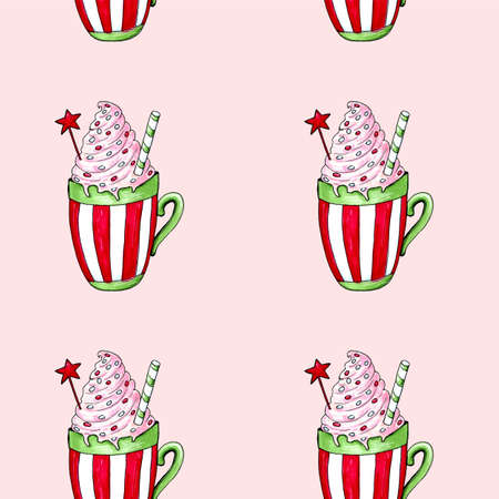 Watercolor illustration of a cup of hot cocoa. Christmas cozy drink Фото со стока - 129776532
