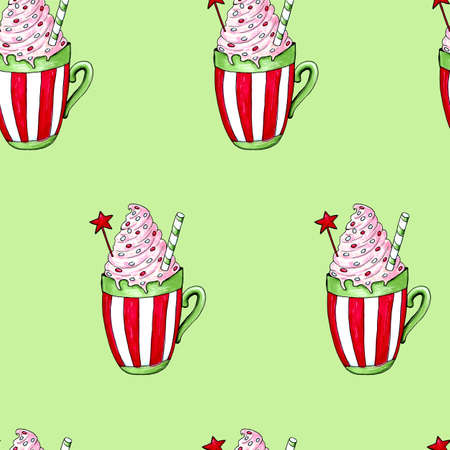 Watercolor illustration of a cup of hot cocoa. Christmas cozy drink Фото со стока - 129776539