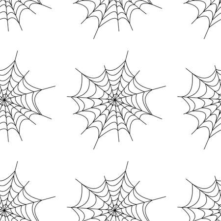 Web seamless pattern on white background. Halloween texture.