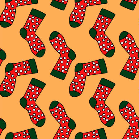 winter holidays pattern with socks. bright colorful gift paper, background, pattern. New year, christmas