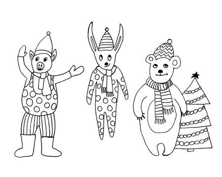 2020 Happy New Year. Set of cute little cartoon toys. New year and Christmas characters. Christmas animals simple illustration for greeting cards, calendars, prints etc.
