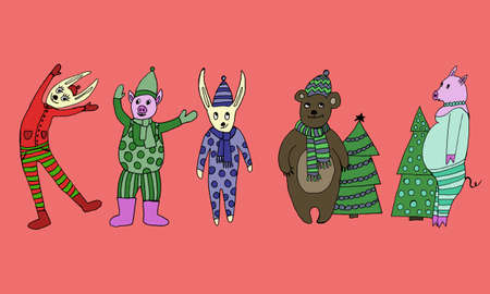 2020 Happy New Year. Set of cute little cartoon toys. New year and Christmas characters. Christmas animals simple illustration for greeting cards, calendars, prints etc. Banque d'images - 130043015