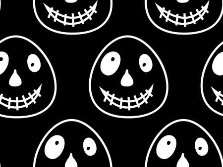 Vector Happy Halloween seamless pattern,classic bundle icons, doodles element for Halloween design. Set of Halloween silhouettes. Black and white and orange. Standard-Bild - 130043027