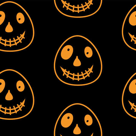 Vector Happy Halloween seamless pattern,classic bundle icons, doodles element for Halloween design. Set of Halloween silhouettes. Black and white and orange.
