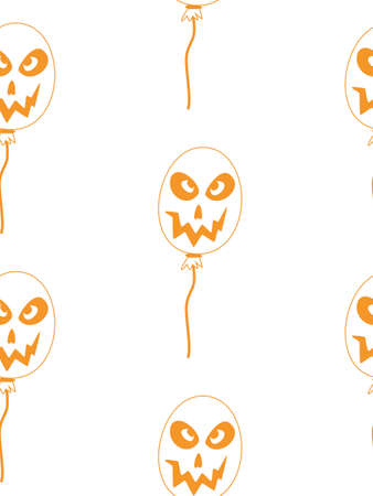 Vector Happy Halloween seamless pattern,classic bundle icons, doodles element for Halloween design. Set of Halloween silhouettes. Black and white and orange. Standard-Bild - 130043030
