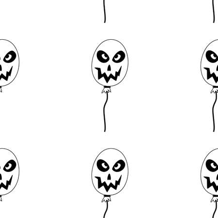 Vector Happy Halloween seamless pattern,classic bundle icons, doodles element for Halloween design. Set of Halloween silhouettes. Black and white and orange. Standard-Bild - 130043105