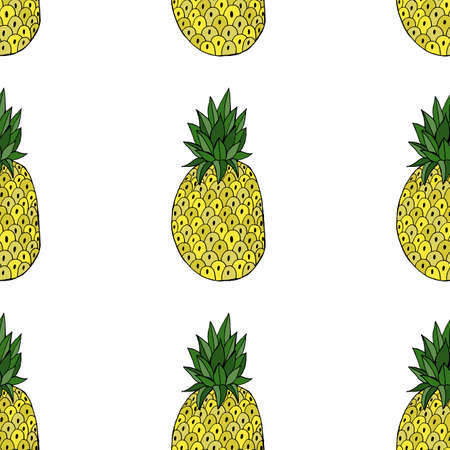 Pineapple with leaf icon. Tropical fruit isolated on white background. Symbol of food, sweet, exotic and summer, vitamin, healthy. Nature dessert. Design element Vector illustration