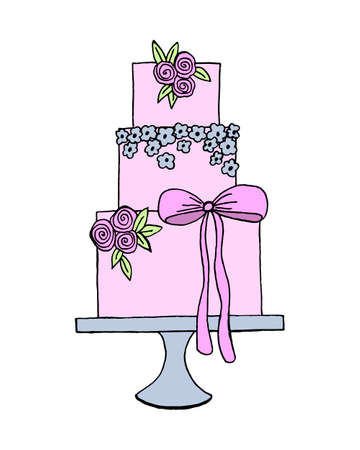 Vector wedding cake for Wedding invitations or announcements