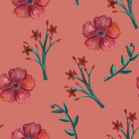 Floral pattern. Flower seamless background. Flourish ornamental spring garden texture. Stock Photo