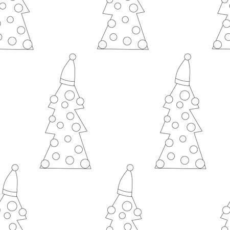 Hand drawn Merry Christmas doodle set with tree, star elements. Winter and holiday themes object. Vector illustration.