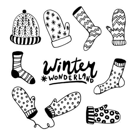 Winter hand drawn set. Hat, socks, mittens, Christmas tree, envelope, letter, gift, gift box isolated hand drawn elements. For winter illustrations, patterns postcards invitations