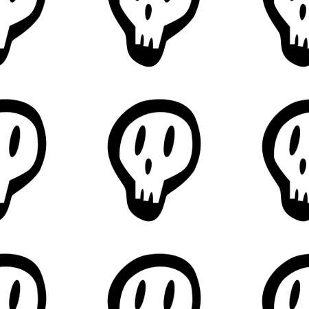 Seamless pattern with white skull and crossed bones isolated on white background. Vector illustration for design, web, wrapping paper, fabric.