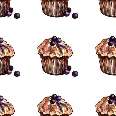 Set of sweets: donut, cake, cookies, etc. Watercolor illustration Фото со стока - 131487054