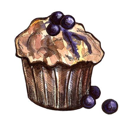 Set of chocolate sweets: donut, cake, cookies, cupcake, woopie pie, macarons. Hand drawn watercolor illustration