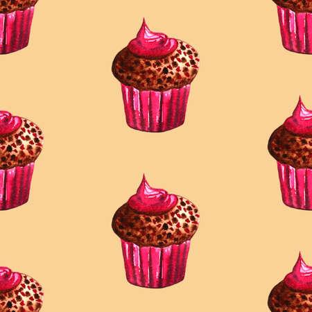 Set of sweets: donut, cake, cookies, etc. Watercolor illustration Фото со стока - 131487170