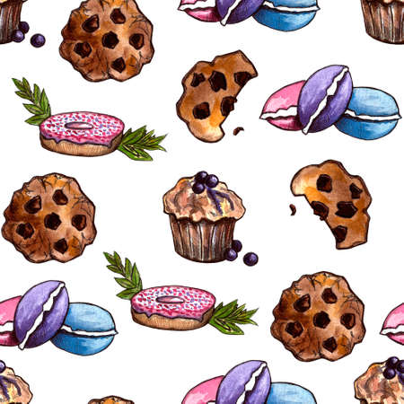 Set of sweets: donut, cake, cookies, etc. Watercolor illustration