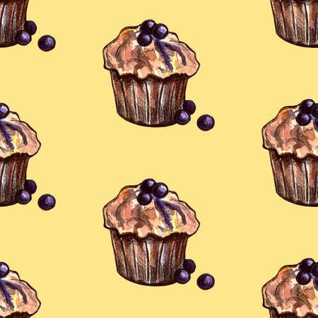 Set of sweets: donut, cake, cookies, etc. Watercolor illustration Фото со стока - 131489997