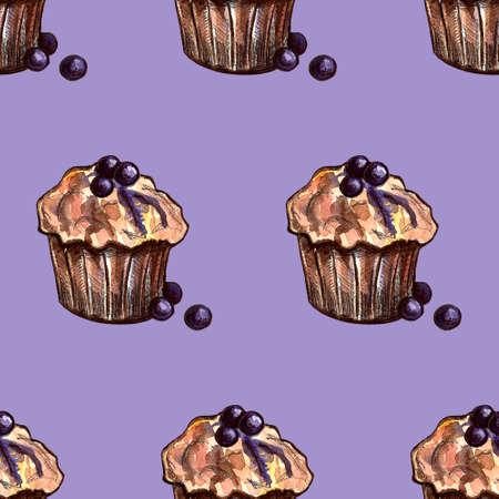 Set of sweets: donut, cake, cookies, etc. Watercolor illustration Фото со стока - 131491162