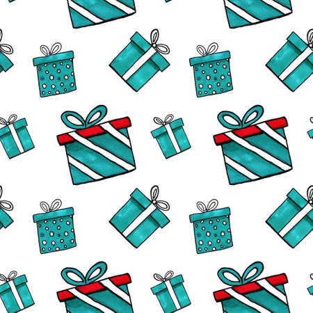 watercolor holiday presents illustration, wrapped gift boxes, birthday party design elements set, festive clip art