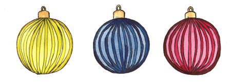 christmas bulbs hand made watercolor illustration. xmas ball decoration. decorative background for header or greeting card, bauble decorations