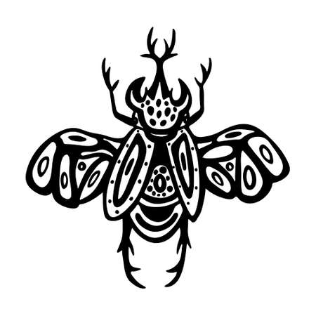 Hand drawn beetles set. Black and white insects for design, icons, logo or print. Drawn with dots. Great illustration for Halloween. Illustration