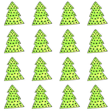 Watercolor decorated Christmas tree seamless pattern. Hand drawn evergreen plants, balls. Spruce backdrop for design, cards, kids illustration, wrapping paper