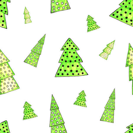 Watercolor decorated Christmas tree seamless pattern. Hand drawn evergreen plants, balls. Spruce backdrop for design, cards, kids illustration