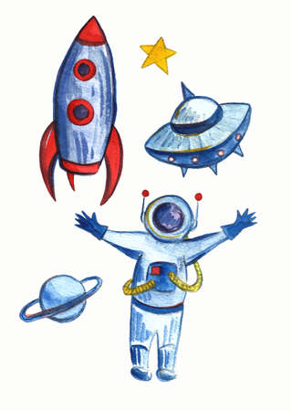 Space Background for Kids. Cartoon Rockets, Planets, Stars, Comets and UFOs.