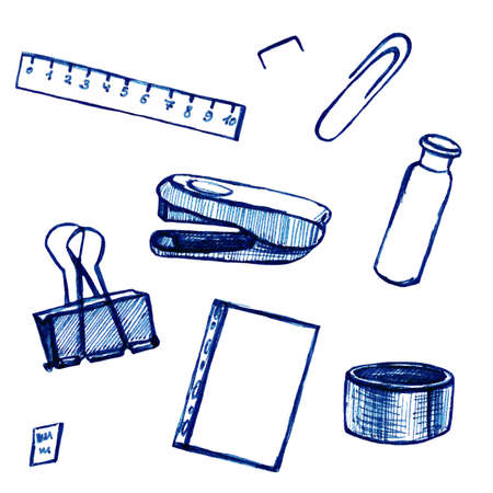 Back to school - pen sketch background. Can be used for wallpaper, pattern fills, textile, web page background, surface textures. Cartoon stationery Standard-Bild - 134795116