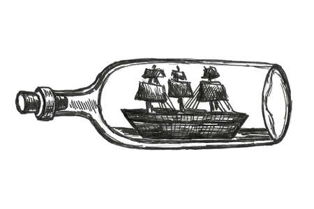 Abstract background of boat in the bottle. Pencil sketch painting style. Black and white